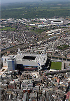 Aerial view of Millennium Stadium (F) and the new Cardiff City FC ground (TOP R)