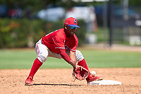 Philadelphia Phillies second baseman Uziel Viloria (23) fields a throw during an Extended Spring Training game against the Toronto Blue Jays on June 12, 2021 at the Carpenter Complex in Clearwater, Florida. (Mike Janes/Four Seam Images)