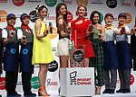 April 23, 2019, Tokyo, Japan - E-girls members (3rd L- 3rd R) Nozomi Bando, Harumi Sato, Kaede and Nonoka Yamaguchi attend a promotional event for new tapioca drinks launched by donut store Mister Donut in Tokyo on Tuesday, April 23, 2019. Mister Donut will launch four flavored tapioca drinks on April 26.       (Photo by Yoshio Tsunoda/AFLO)