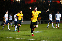 Padraig Amond of Newport County celebrates scoring his sides first goal of the match during the Fly Emirates FA Cup Fourth Round match between Newport County and Tottenham Hotspur at Rodney Parade, Newport, Wales, UK. Saturday 27 January 2018