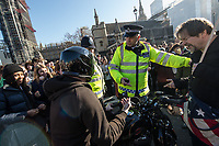 Thousands of School students gather in Parliament square having walked out of school in protest at government inaction over climate change. There were chaotic scenes in and around Whitehall and Downing street at they blocked main roads. Westminster, London 15-2-19