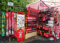 Kiosks and market stalls near the ground reopen selling Manchester United merchandise as thirty thousand tickets have been sold for the match during Manchester United vs Brentford, Friendly Match Football at Old Trafford on 28th July 2021
