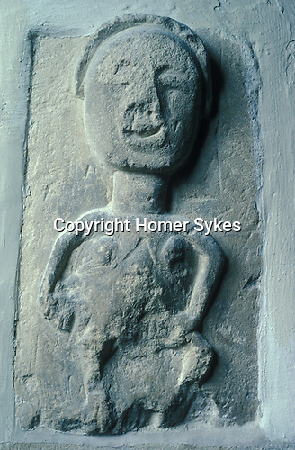 Sheela-na-gig. The Church of Ampney St Peter, Ampney St Peter, Gloucestershire England. Celtic Britain published by Orion