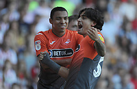 Swansea City's Yan Dhanda celebrates scoring his side's second goal during the Sky Bet Championship match between Sheffield United and Swansea City at Bramall Lane, Sheffield, England, UK. Saturday 04 August 2018
