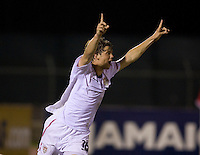 Andrew Oliver (16) of the United States celebrates the first goal of the game during the finals of the CONCACAF Men's Under 17 Championship at Catherine Hall Stadium in Montego Bay, Jamaica. The United States defeated Canada, 3-0, in overtime