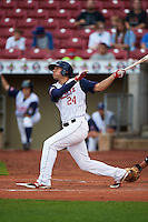 Cedar Rapids Kernels outfielder Zack Larson (24) at bat during a game against the Kane County Cougars on August 18, 2015 at Perfect Game Field in Cedar Rapids, Iowa.  Kane County defeated Cedar Rapids 1-0.  (Mike Janes/Four Seam Images)