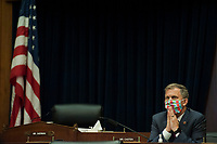 """United States Representative Sean Casten (Democrat of Illinois), listens as U.S. Securities and Exchange Commission Chairman Jay Clayton testifies before a House Committee on Financial Services hearing entitled """"Capital Markets and Emergency Lending in the COVID-19 Era"""" in the Rayburn House Office Building on Capitol Hill in Washington, DC., Thursday, June 25, 2020. <br /> Credit: Rod Lamkey / Pool via CNP/AdMedia"""