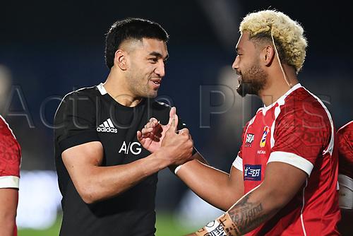 3rd July 2021, Auckland, New Zealand;  Rieko Ioane (L) and Walter Fifita.<br /> New Zealand All Blacks versus Tonga, Steinlager Series, international rugby union test match. Mt Smart Stadium, Auckland. New Zealand.