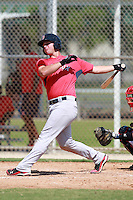 Boston Red Sox minor league infielder David Renfroe (16) during a game vs. the Minnesota Twins in an Instructional League game at Lee County Sports Complex in Fort Myers, Florida;  October 2, 2010.  Photo By Mike Janes/Four Seam Images