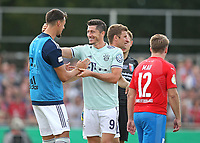 18.08.2018, Football DFB Pokal 2018/2019, 1. round, SV Drochtersen Assel - FC Bayern Muenchen, Kehdinger stadium Drochtersen. celebration  Sandro Wagner (Bayern Muenchen) and scorer Robert Lewandowski (Bayern Muenchen)   0:1<br /><br /><br />***DFB rules prohibit use in MMS Services via handheld devices until two hours after a match and any usage on internet or online media simulating video foodaye during the match.*** *** Local Caption *** © pixathlon<br /> <br /> Contact: +49-40-22 63 02 60 , info@pixathlon.de