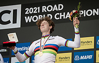 Gustav Wang (DEN) is the new Junior TT World Champion.<br /> <br /> Junior Men Individual Time Trial from Knokke-Heist to Bruges (22.3 km)<br /> <br /> UCI Road World Championships - Flanders Belgium 2021<br /> <br /> ©kramon