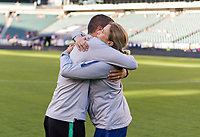 PHILADELPHIA, PA - AUGUST 29: Francisco Neto of Portugal and Jill Ellis of the United States embrace prior to a game between Portugal and the USWNT at Lincoln Financial Field on August 29, 2019 in Philadelphia, PA.