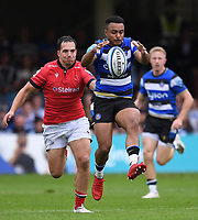 25th September 2021; The Recreation Ground, Bath, Somerset, England; Gallagher Premiership Rugby, Bath versus Newcastle Falcons; Max Ojomoh of Bath collects the ball from a kick through