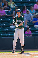 Brandon Bednar (19) of the Augusta GreenJackets prepares to step into the batters box against the Hickory Crawdads at L.P. Frans Stadium on May 11, 2014 in Hickory, North Carolina.  The GreenJackets defeated the Crawdads 9-4.  (Brian Westerholt/Four Seam Images)