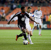 Clyde Simms (19) of D.C. United battles for the ball with David Beckham (23) of the LA Galaxy during the game at RFK Stadium.  D.C. United tied the LA Galaxy, 1-1.
