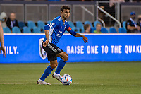 SAN JOSE, CA - MAY 12: Chris Wondolowski #8 of the San Jose Earthquakes looks up to pass the ball during a game between San Jose Earthquakes and Seattle Sounders FC at PayPal Park on May 12, 2021 in San Jose, California.