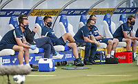 16th May 2020, Rhein-Neckar-Arena, Hoffenheim, Germany; Bundesliga football,1899 Hoffenheim versus Hertha Berlin;  The support team of TSG 1899 Hoffenheim all masked on the bench and spaced out