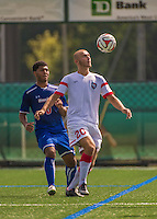 5 September 2014: St. Francis College Terrier Forward/Midfielder Adrian Cosovic, a Freshman from Staten Island, NY, in action against the University of Massachusetts River Hawks, at Virtue Field in Burlington, Vermont. The River Hawks defeated the Terriers 3-1, on the first day of the Morgan Stanley Smith Barney Windjammer Classic Men's Soccer Tournament. Mandatory Credit: Ed Wolfstein Photo *** RAW (NEF) Image File Available ***