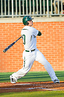 Justin Seager (10) of the Charlotte 49ers follows through on his swing against the Delaware State Hornets at Robert and Mariam Hayes Stadium on February 15, 2013 in Charlotte, North Carolina.  The 49ers defeated the Hornets 13-7.  (Brian Westerholt/Four Seam Images)