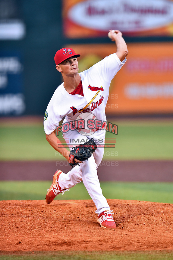 Johnson City Cardinals pitcher Jacob Schlesener (31) delivers a pitch during a game against the Bristol Pirates at TVA Credit Union Ballpark on June 23, 2017 in Johnson City, Tennessee. The Pirates defeated the Cardinals 4-3. (Tony Farlow/Four Seam Images)
