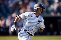 New York Yankees Ben Ruta (97) runs to first base after hitting a double during a Spring Training game against the Toronto Blue Jays on February 22, 2020 at the George M. Steinbrenner Field in Tampa, Florida.  (Mike Janes/Four Seam Images)