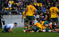 Referee Paul Williams checks a grounding during the Bledisloe Cup rugby union match between the New Zealand All Blacks and Australia Wallabies at Sky Stadium in Wellington, New Zealand on Sunday, 11 October 2020. Photo: Dave Lintott / lintottphoto.co.nz