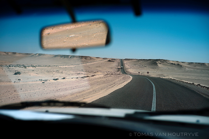 The road heading into the Sahara from Dakhla, Morocco on Dec. 16, 2011.