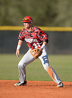 Orangewood Christian Rams second baseman Forrest Wall (31) during a game against the Olympia Titans at Olympia High School on February 19, 2014 in Olympia, Florida.  (Mike Janes/Four Seam Images)