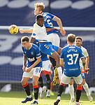 22.08.2020 Rangers v Kilmarnock: Filip Helander, Ryan Jack and Scott Arfield with Nicke Kabamba