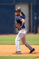 FCL Tigers East shortstop Yerjeni Perez (2) during practice before a game against the FCL Yankees on July 27, 2021 at the Yankees Minor League Complex in Tampa, Florida. (Mike Janes/Four Seam Images)