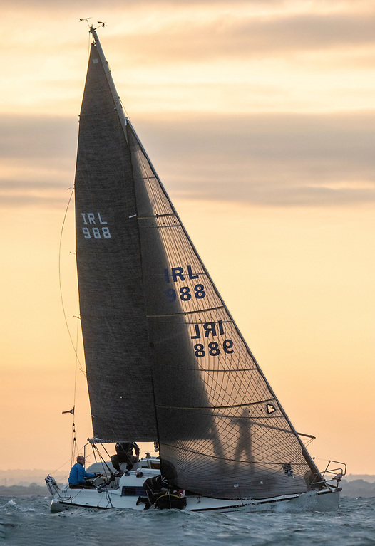 Twilight sailing as we dream of it – the Gore-Grimes family's successful Dux arriving at the weather mark on Wednesday evening. Photo: Annraoi Blaney