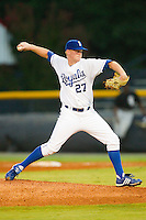 Starting pitcher Gates Dooley #27 of the Burlington Royals in action against the Bristol White Sox at Burlington Athletic Stadium August 13, 2010, in Burlington, North Carolina.  Photo by Brian Westerholt / Four Seam Images
