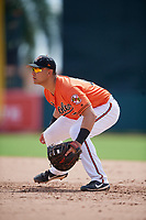 Baltimore Orioles first baseman JC Escarra (72) during a Florida Instructional League game against the Pittsburgh Pirates on September 22, 2018 at Ed Smith Stadium in Sarasota, Florida.  (Mike Janes/Four Seam Images)