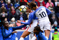 Harrison, N.J. - Sunday March 04, 2018: Lynn Williams, Carli Lloyd during a 2018 SheBelieves Cup match between the women's national teams of the United States (USA) and France (FRA) at Red Bull Arena.