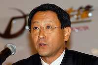 Akio Toyoda, Senior Managing Director of Toyota Motor Corporation is pictured in a press conference in Beijing, China on November, 6, 2003. James Murdoch attended the news conference as the outgoing CEO OF STAR TV to announce a partnership with Toyota Motor Corporation to promote driving in China.<br /> <br /> Nov 2003