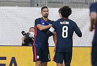 ST. GALLEN, SWITZERLAND - MAY 30: Sebastian Lletget #17of the United States celebrates during a game between Switzerland and USMNT at Kybunpark on May 30, 2021 in St. Gallen, Switzerland.