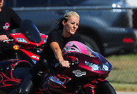 Jul, 9, 2011; Joliet, IL, USA: NHRA pro stock motorcycle rider Angie Smith during qualifying for the Route 66 Nationals at Route 66 Raceway. Mandatory Credit: Mark J. Rebilas-