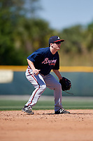 Atlanta Braves Riley Delgado (50) during a minor league Spring Training game against the Pittsburgh Pirates on March 13, 2018 at Pirate City in Bradenton, Florida.  (Mike Janes/Four Seam Images)
