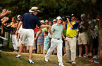 Rory McIlroy of Northern Ireland celebrates his victory during the final round of the Quail Hollow Championship at Quail Hollow Country Club on May 2, 2010 in Charlotte, North Carolina.  The event, formerly called the Wachovia Championship, is a top event on the PGA Tour, attracting such popular golf icons as Tiger Woods, Vijay Singh and Bubba Watson. Photo from the final round in the Quail Hollow Championship golf tournament at the Quail Hollow Club in Charlotte, N.C., Sunday , May 03, 2009..