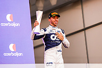 GASLY Pierre (fra), Scuderia AlphaTauri Honda AT02, portrait celebrating his podium during the Formula 1 Azerbaijan Grand Prix 2021 from June 04 to 06, 2021 on the Baku City Circuit, in Baku, Azerbaijan -<br /> FORMULA 1 : Grand Prix Azerbaijan <br /> 06/06/2021 <br /> Photo DPPI/Panoramic/Insidefoto <br /> ITALY ONLY