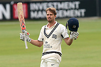 Nick Compton of Middlesex celebrates scoring a century, 100 runs during Essex CCC vs Middlesex CCC, Specsavers County Championship Division 1 Cricket at The Cloudfm County Ground on 29th June 2017