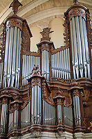 Grand church organ inside the Bordeaux Cathedral, Bordeaux, France.
