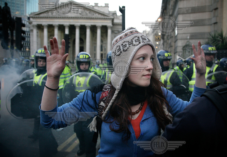 Police move in on demontsrators as thousands of protestors descended on the City of London ahead of the G20 summit of world leaders to express anger at the economic crisis, which many blame on the excesses of capitalism.