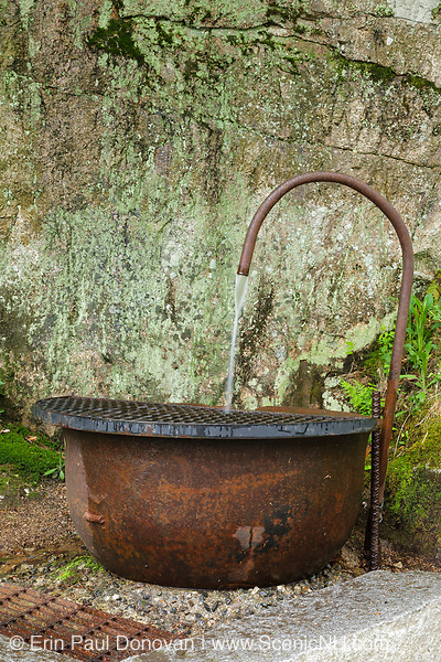 Old kettle in Franconia Notch State Park in New Hampshire. This kettle is one of few remaining items that was produced by Franconia Iron, and it is thought this kettle was possibly the property of the Flume House. The Flume House was an 1800s hotel located in the Notch.