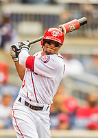 15 May 2016: Washington Nationals outfielder Ben Revere takes a swing on deck during a game against the Miami Marlins at Nationals Park in Washington, DC. The Marlins defeated the Nationals 5-1 in the final game of their 4-game series.  Mandatory Credit: Ed Wolfstein Photo *** RAW (NEF) Image File Available ***