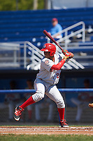 Auburn Doubledays center fielder Juan Soto (26) at bat during the first game of a doubleheader against the Batavia Muckdogs on September 4, 2016 at Dwyer Stadium in Batavia, New York.  Batavia defeated Auburn 1-0 in a continuation of a game started on August 13. (Mike Janes/Four Seam Images)