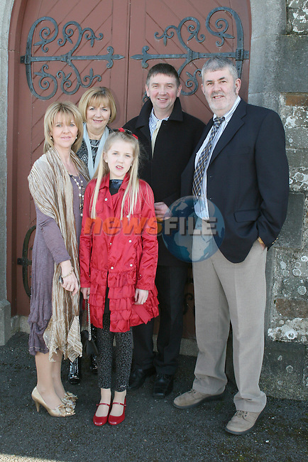 Stephanie McDonnell with her parents and godparents at her Confirmation in Clogherhead Church...Photo NEWSFILE/Jenny Matthews.(Photo credit should read Jenny Matthews/NEWSFILE)....This Picture has been sent you under the condtions enclosed by:.Newsfile Ltd..The Studio,.Millmount Abbey,.Drogheda,.Co Meath..Ireland..Tel: +353(0)41-9871240.Fax: +353(0)41-9871260.GSM: +353(0)86-2500958.email: pictures@newsfile.ie.www.newsfile.ie.FTP: 193.120.102.198.