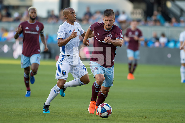 SAN JOSÉ CA - JULY 27: Judson #93, Diego Rubio #7 during a Major League Soccer (MLS) match between the San Jose Earthquakes and the Colorado Rapids on July 27, 2019 at Avaya Stadium in San José, California.