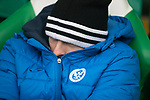 Celtic v St Johnstone…18.02.18…   Celtic Park    SPFL<br />Injured strker David McMillan all warpped up in the dugout<br />Picture by Graeme Hart. <br />Copyright Perthshire Picture Agency<br />Tel: 01738 623350  Mobile: 07990 594431