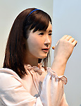 September 7, 2014, Makuhari, Japan - Akiko Chihira, Toshiba's android shows her ability to talk with Japanese sign language while lip synching to a recorded message at CEATEC, Asia's largest IT and electronics trade show opened in Makuhari, east of Tokyo, on Tuesday, September 7, 2014. CEATEC, short for Combined Exhibition of Advanced Technologies, provides a platform for companies and organizations from all over the world to showcase their cutting-edge products, services and technologies. (Photo by Natsuki Sakai/AFLO)